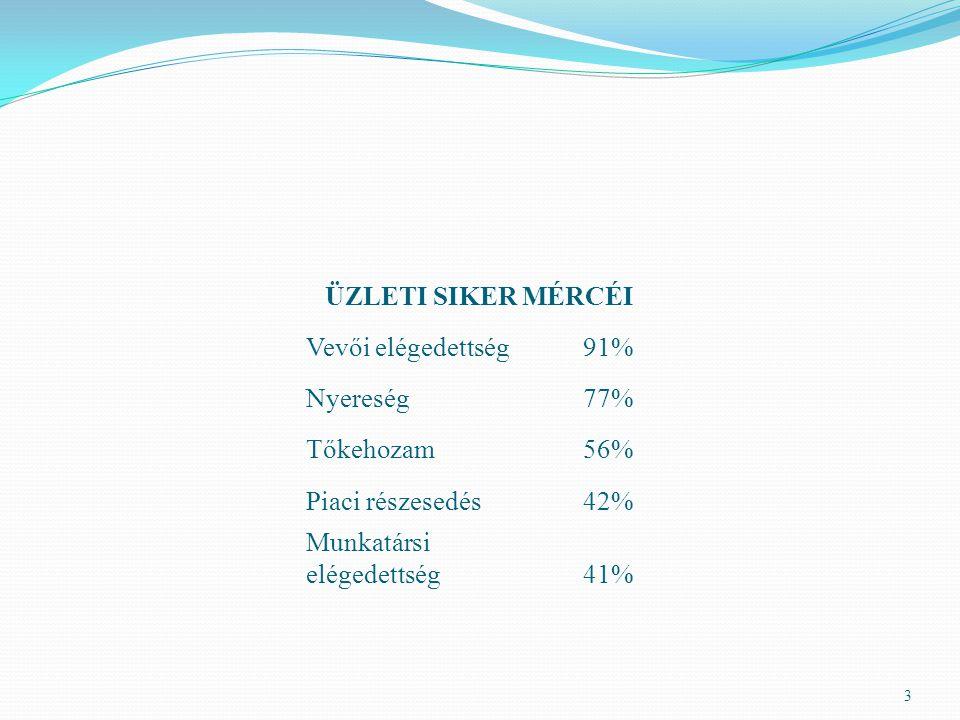 ÜZLETI SIKER MÉRCÉI Vevői elégedettség. 91% Nyereség. 77% Tőkehozam. 56% Piaci részesedés. 42%