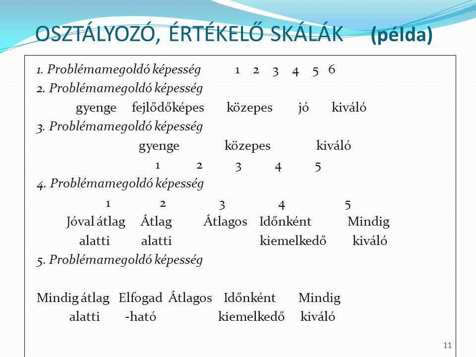 OSZTÁLYOZÓ, ÉRTÉKELŐ SKÁLÁK (példa)