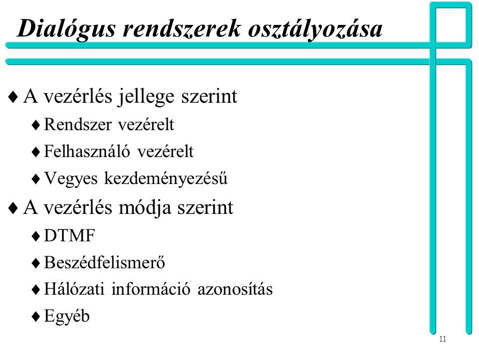 Dialógus rendszerek osztályozása