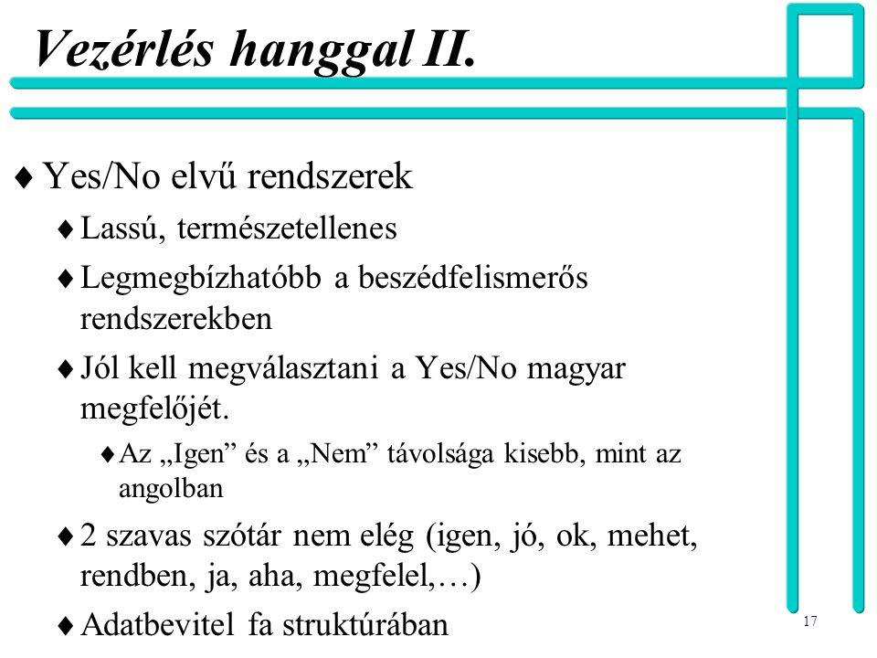 Vezérlés hanggal II. Yes/No elvű rendszerek Lassú, természetellenes