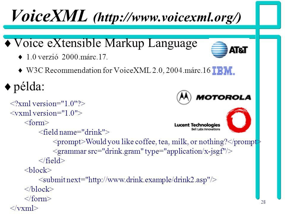 VoiceXML (http://www.voicexml.org/)