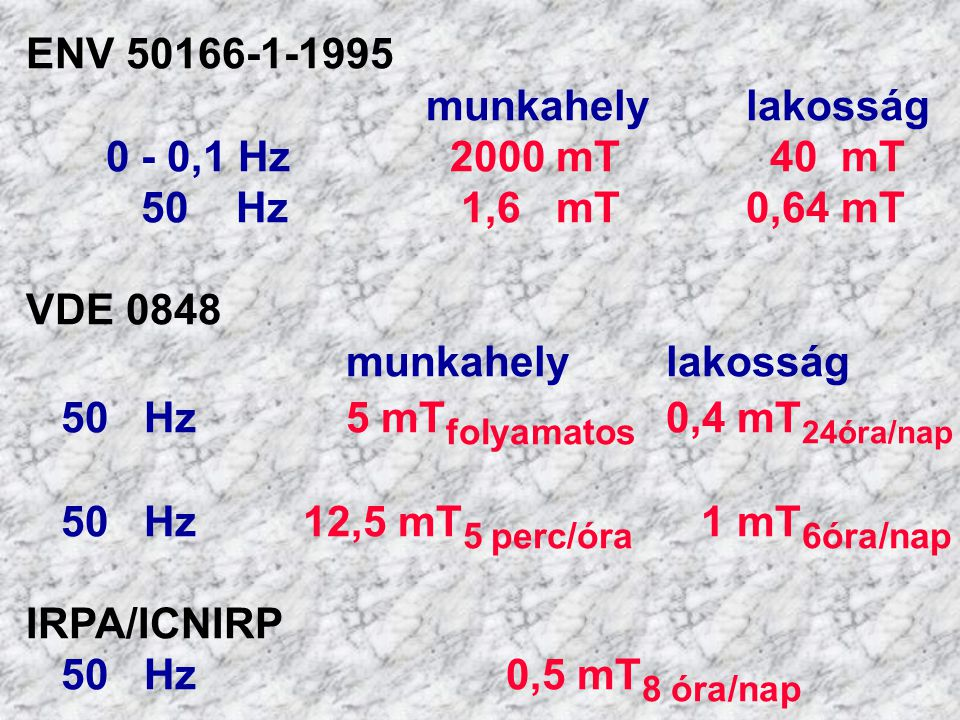ENV 50166-1-1995 munkahely lakosság. 0 - 0,1 Hz 2000 mT 40 mT. 50 Hz 1,6 mT 0,64 mT.