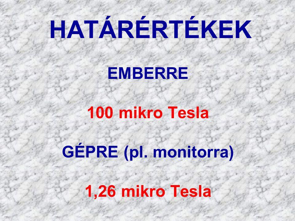 HATÁRÉRTÉKEK EMBERRE 100 mikro Tesla GÉPRE (pl. monitorra)