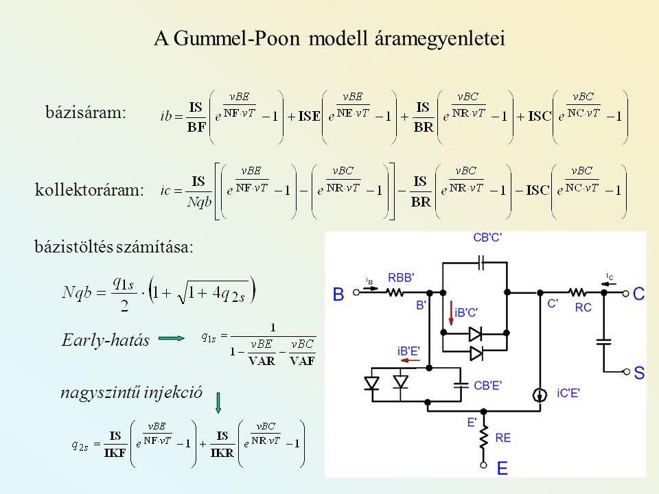 A Gummel-Poon modell áramegyenletei