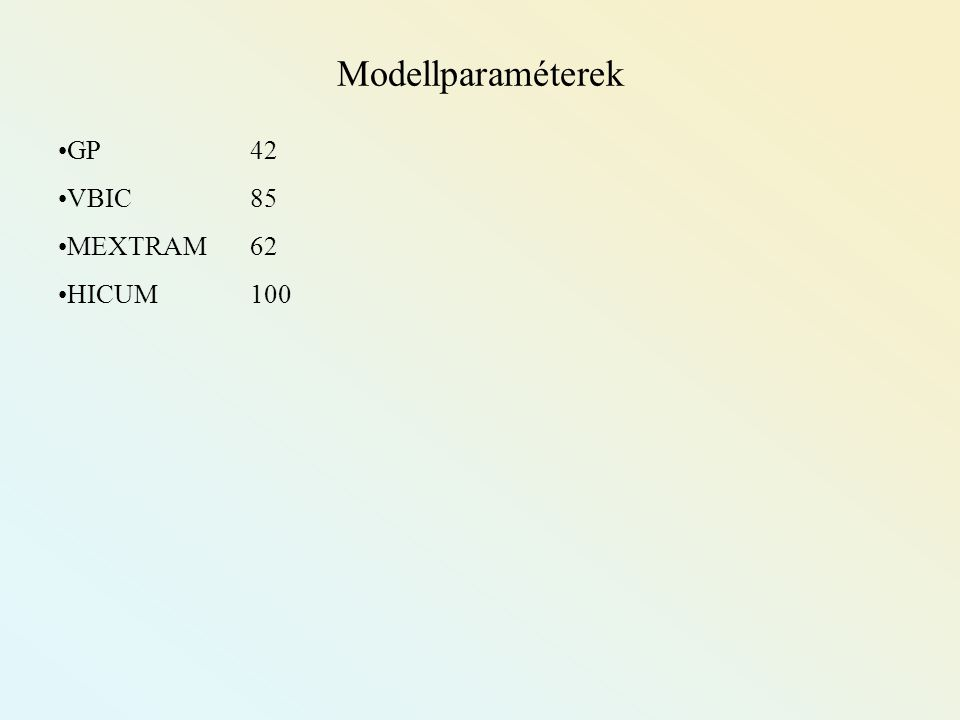 Modellparaméterek GP 42 VBIC 85 MEXTRAM 62 HICUM 100