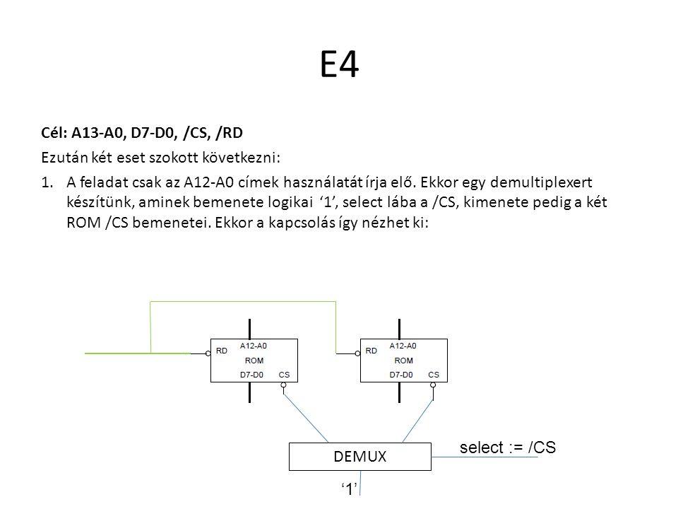 E4 Cél: A13-A0, D7-D0, /CS, /RD Ezután két eset szokott következni: