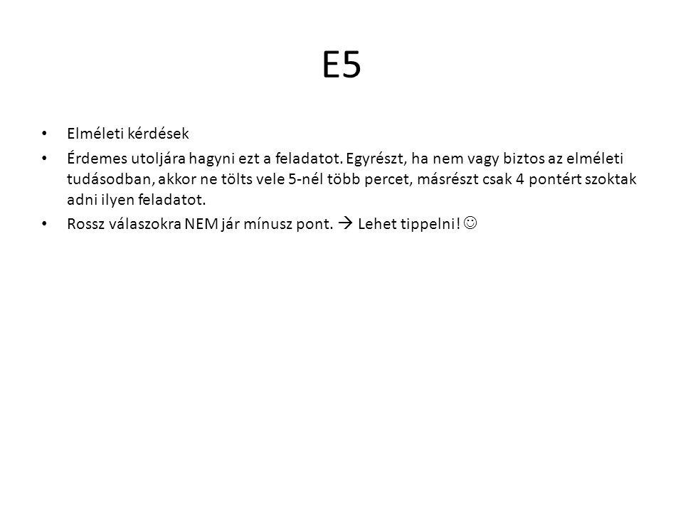 E5 Elméleti kérdések.