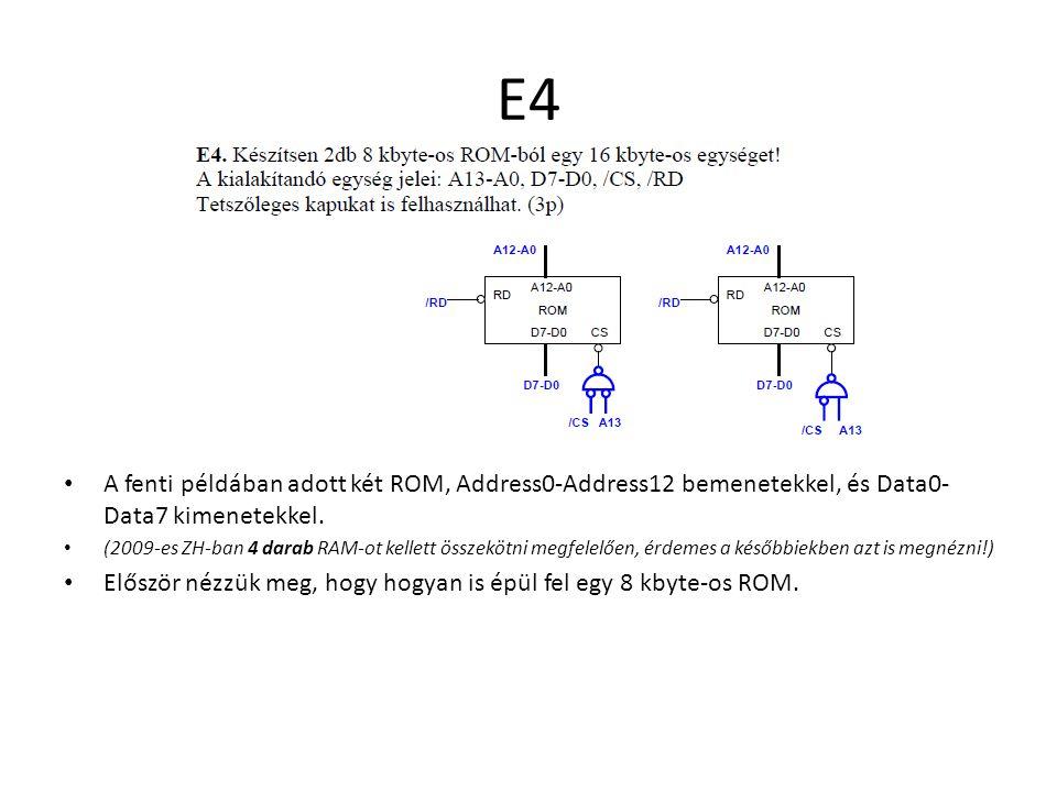 E4 A fenti példában adott két ROM, Address0-Address12 bemenetekkel, és Data0-Data7 kimenetekkel.