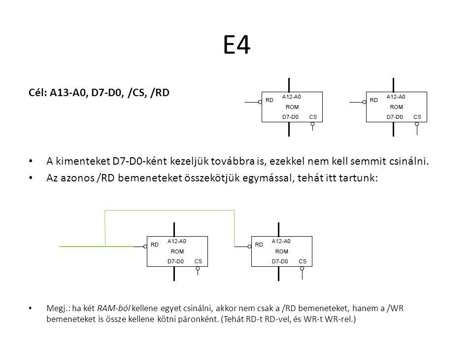 E4 Cél: A13-A0, D7-D0, /CS, /RD. A kimenteket D7-D0-ként kezeljük továbbra is, ezekkel nem kell semmit csinálni.