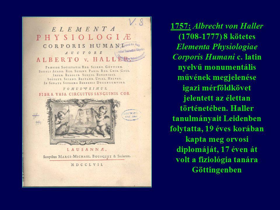 1757: Albrecht von Haller (1708-1777) 8 kötetes Elementa Physiologiae Corporis Humani c.