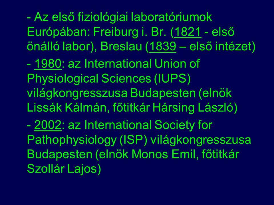 - Az első fiziológiai laboratóriumok Európában: Freiburg i. Br
