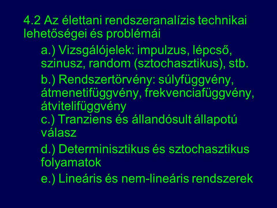 4.2 Az élettani rendszeranalízis technikai lehetőségei és problémái
