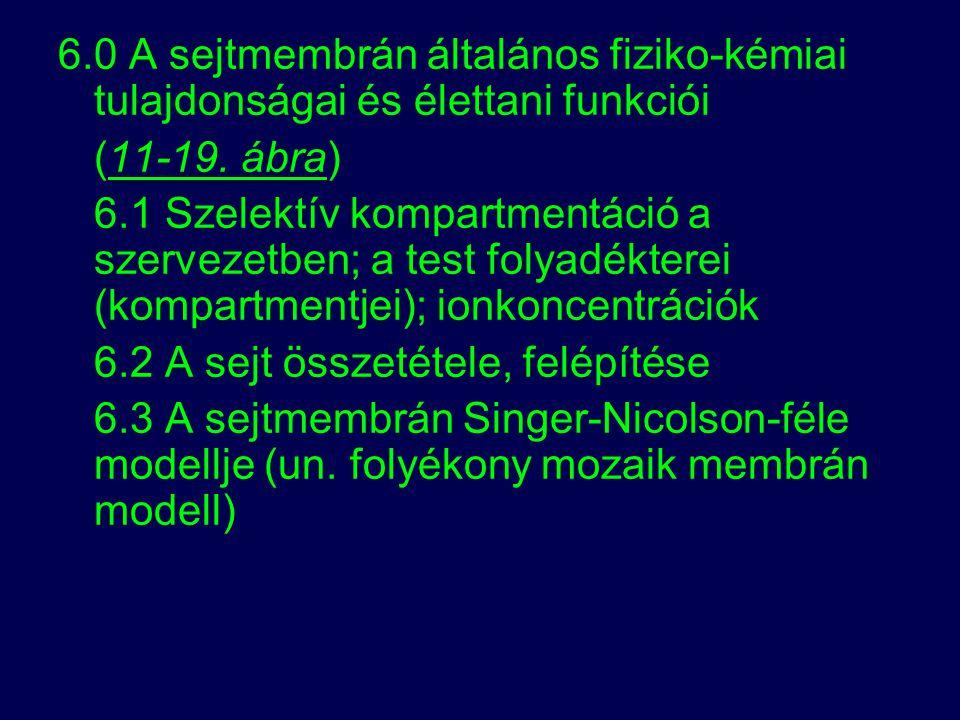 6.0 A sejtmembrán általános fiziko-kémiai tulajdonságai és élettani funkciói