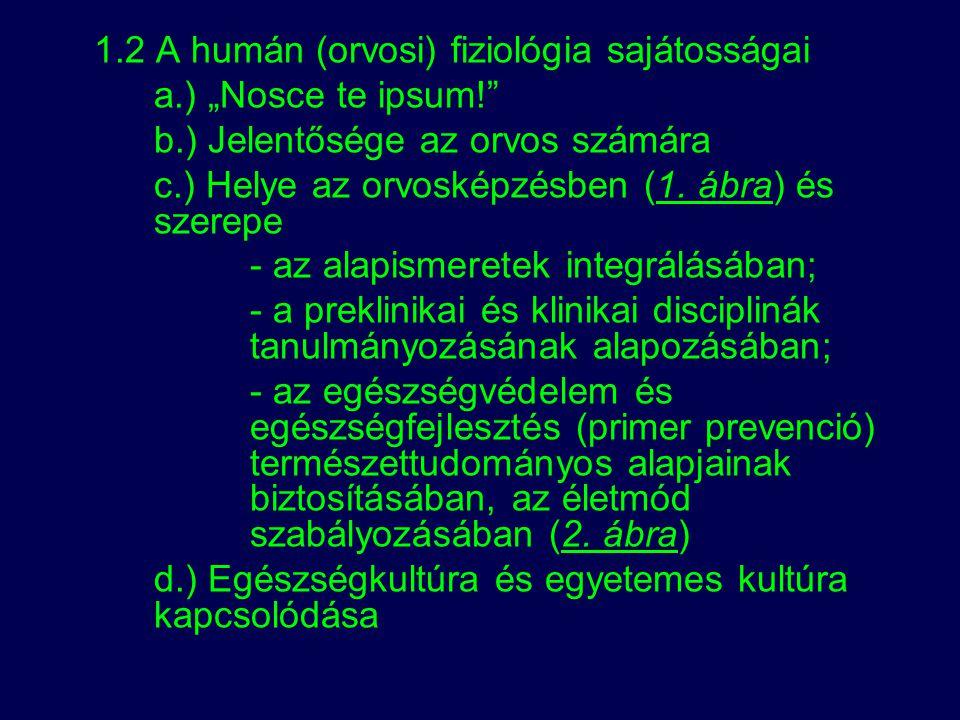 1.2 A humán (orvosi) fiziológia sajátosságai