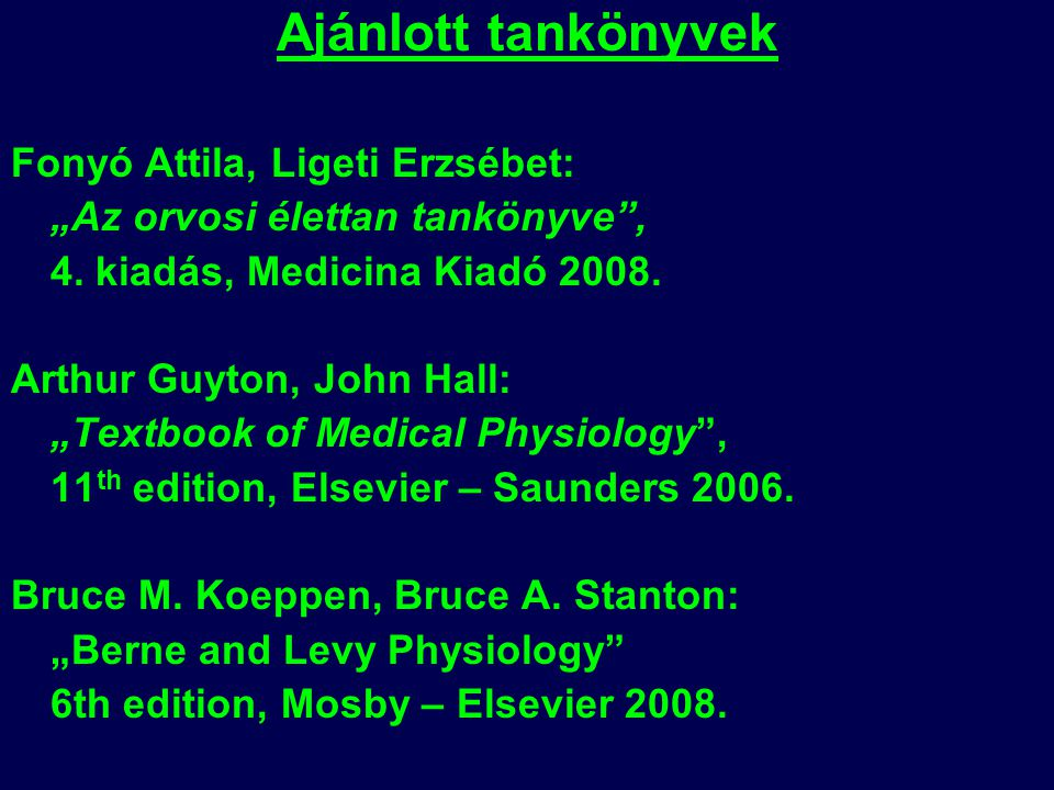 Ajánlott tankönyvek Fonyó Attila, Ligeti Erzsébet: