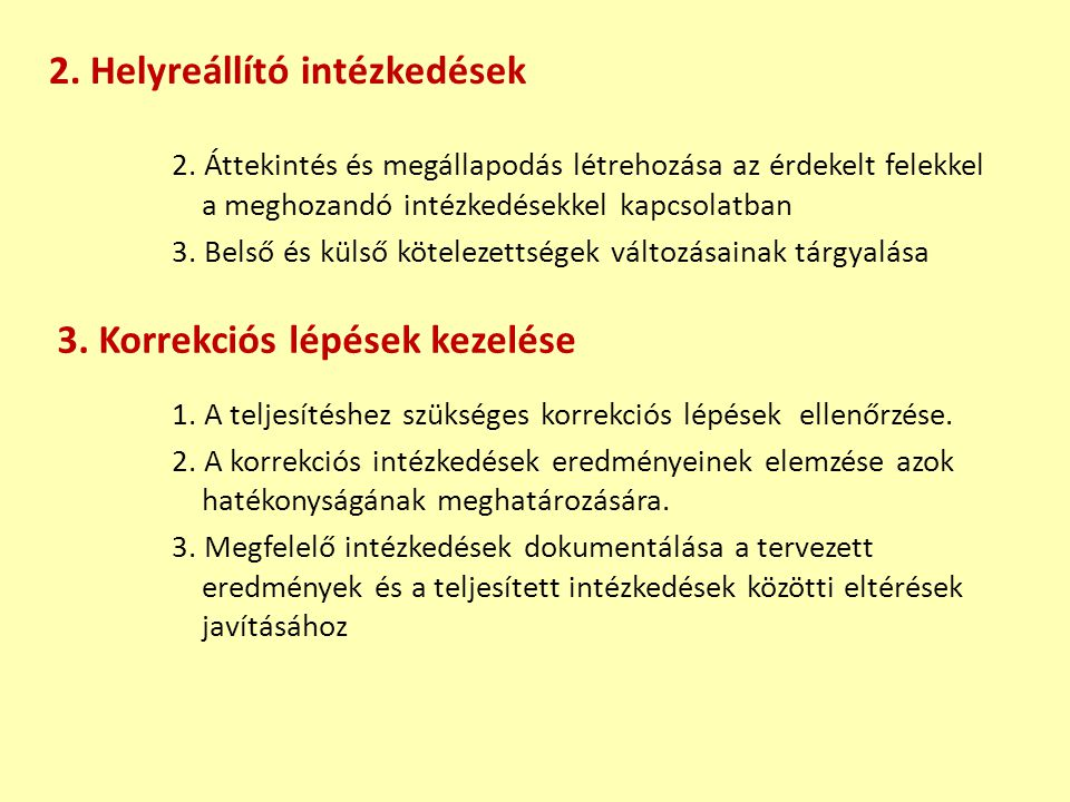 2. Helyreállító intézkedések