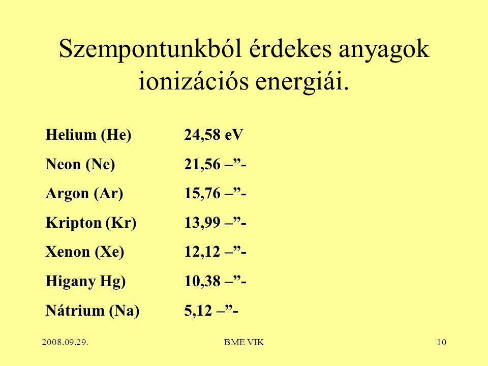 Szempontunkból érdekes anyagok ionizációs energiái.