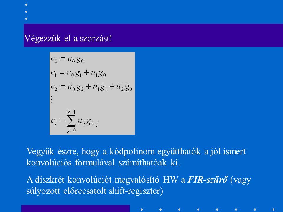 Végezzük el a szorzást! Vegyük észre, hogy a kódpolinom együtthatók a jól ismert konvolúciós formulával számíthatóak ki.