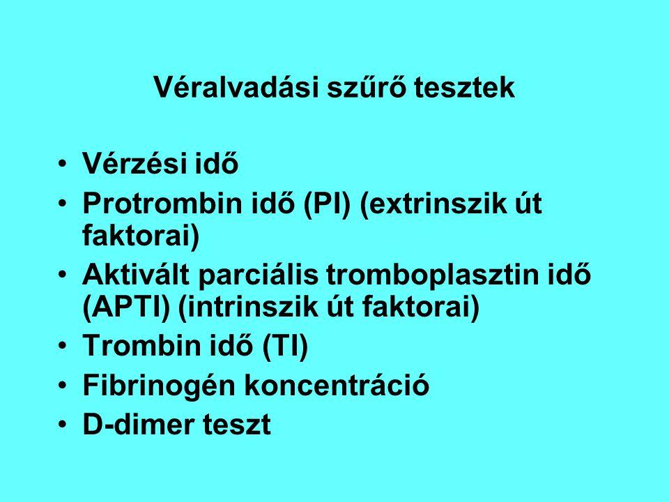 Véralvadási szűrő tesztek