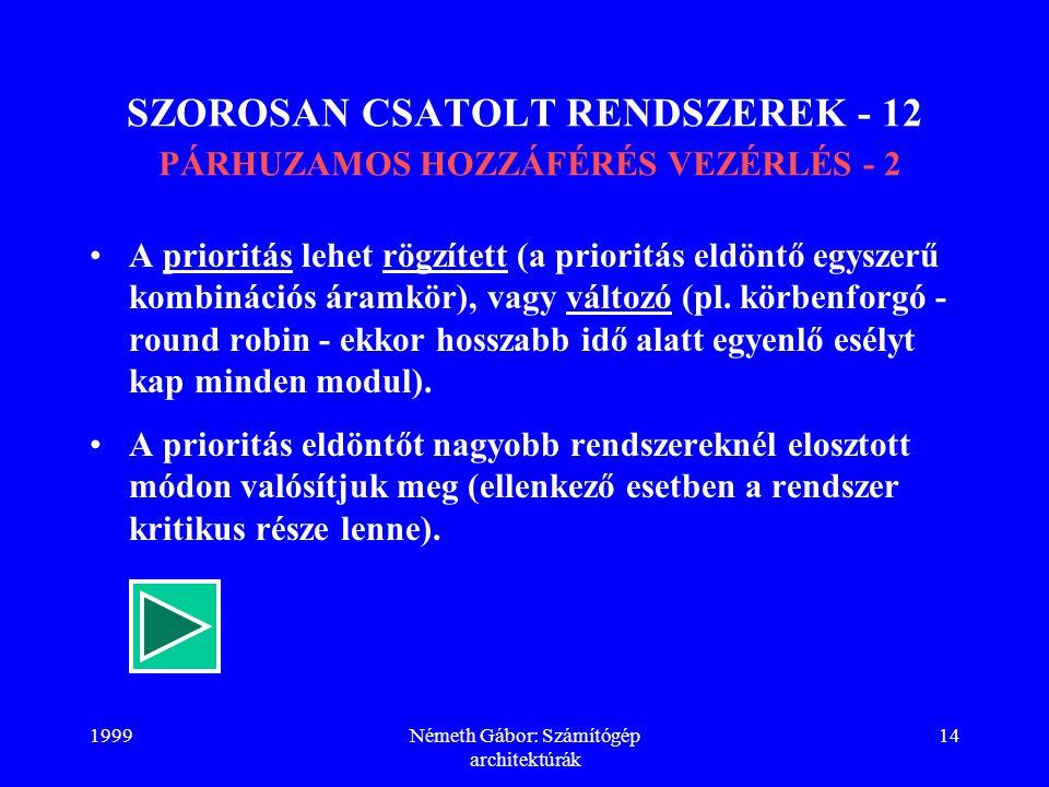 SZOROSAN CSATOLT RENDSZEREK - 12 PÁRHUZAMOS HOZZÁFÉRÉS VEZÉRLÉS - 2