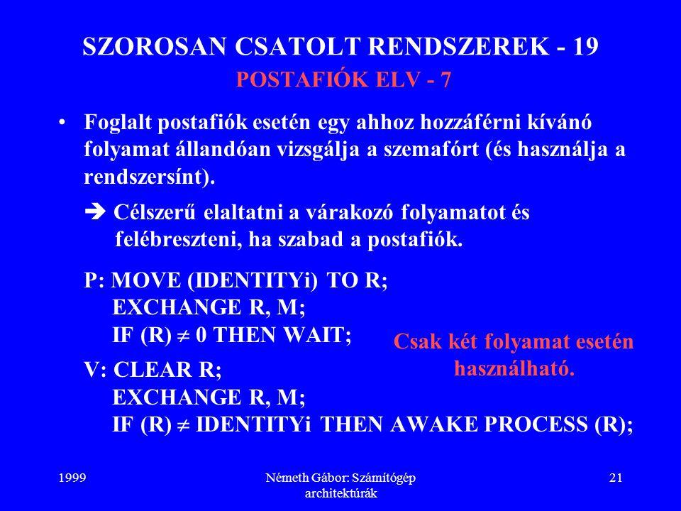 SZOROSAN CSATOLT RENDSZEREK - 19 POSTAFIÓK ELV - 7