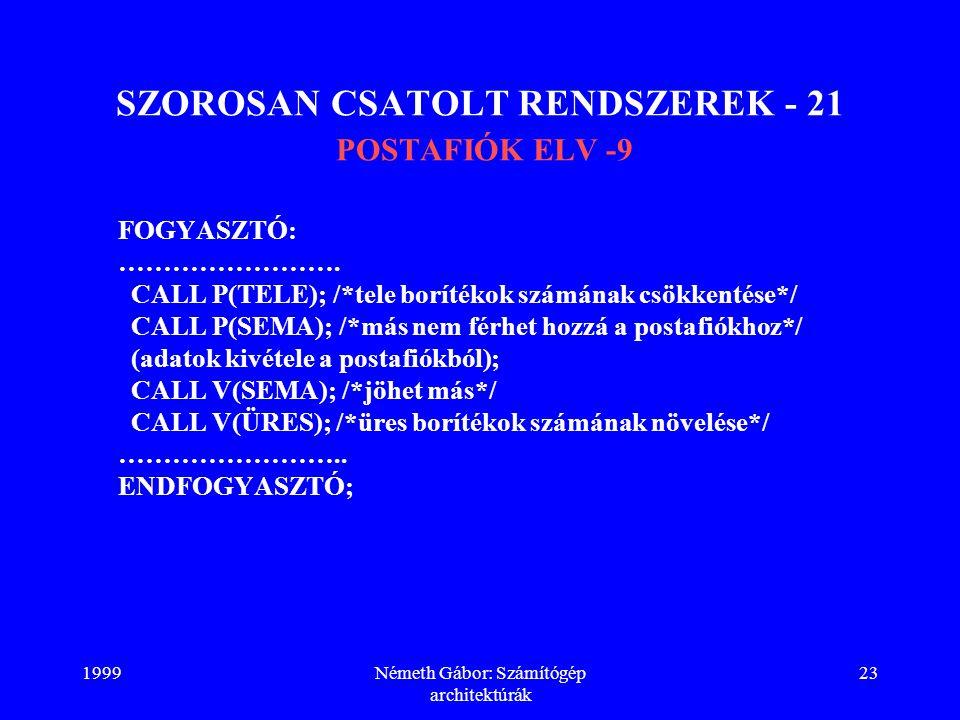 SZOROSAN CSATOLT RENDSZEREK - 21 POSTAFIÓK ELV -9