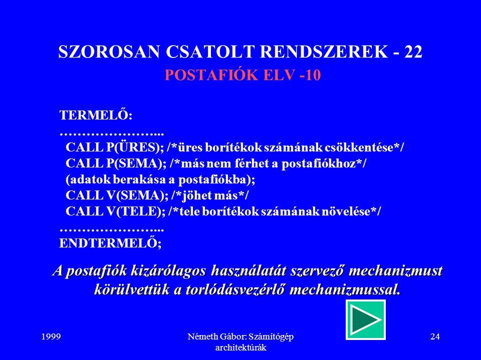SZOROSAN CSATOLT RENDSZEREK - 22 POSTAFIÓK ELV -10
