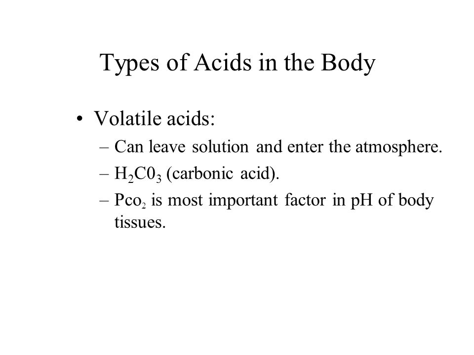 Types of Acids in the Body