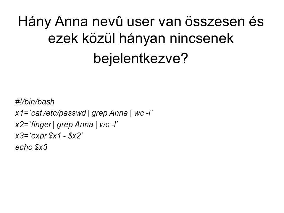 Hány Anna nevû user van összesen és ezek közül hányan nincsenek bejelentkezve