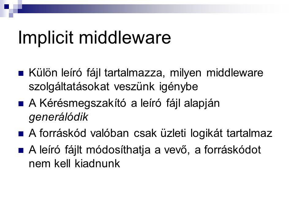 Implicit middleware Külön leíró fájl tartalmazza, milyen middleware szolgáltatásokat veszünk igénybe.