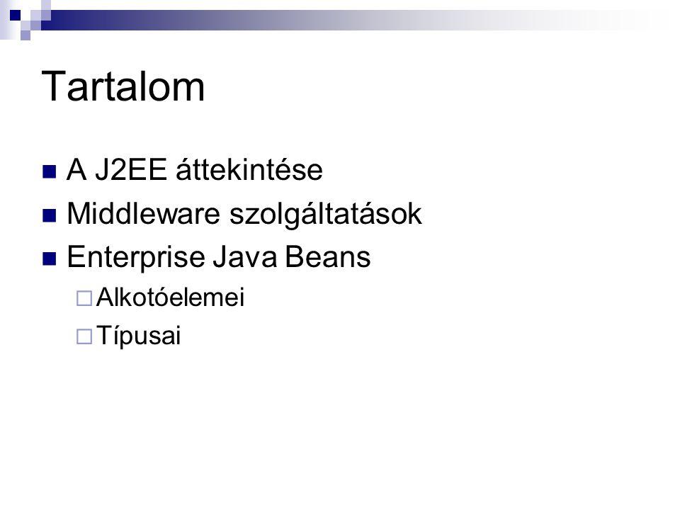 Tartalom A J2EE áttekintése Middleware szolgáltatások