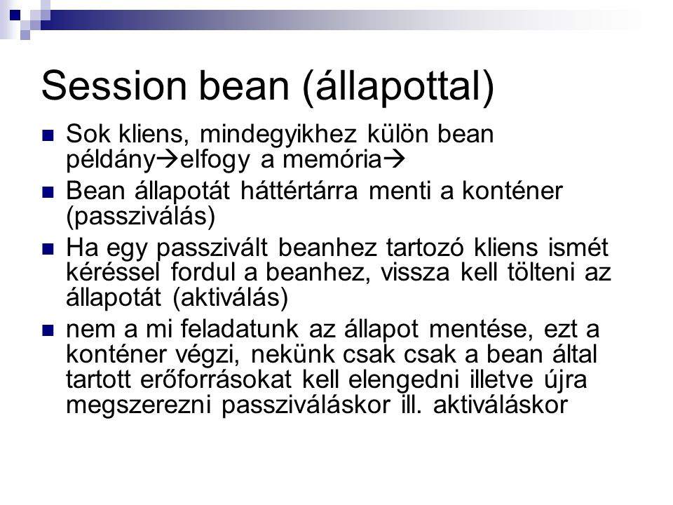 Session bean (állapottal)