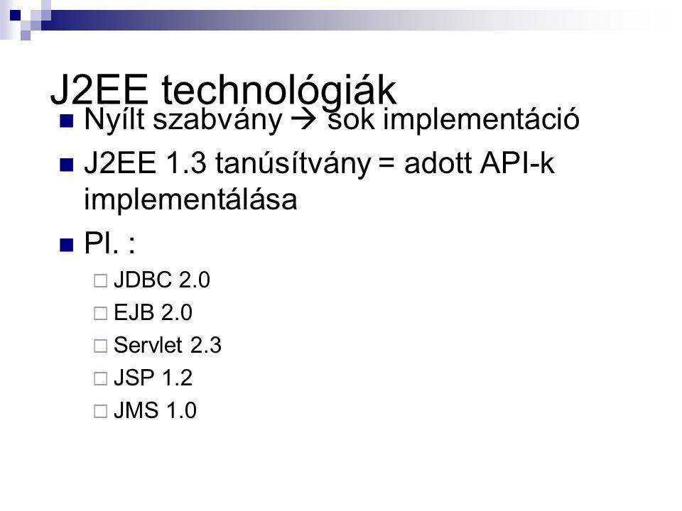 J2EE technológiák Nyílt szabvány  sok implementáció