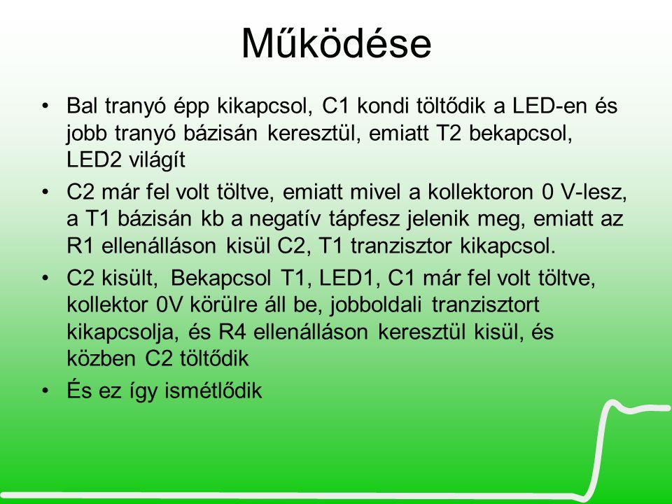 Működése Bal tranyó épp kikapcsol, C1 kondi töltődik a LED-en és jobb tranyó bázisán keresztül, emiatt T2 bekapcsol, LED2 világít.