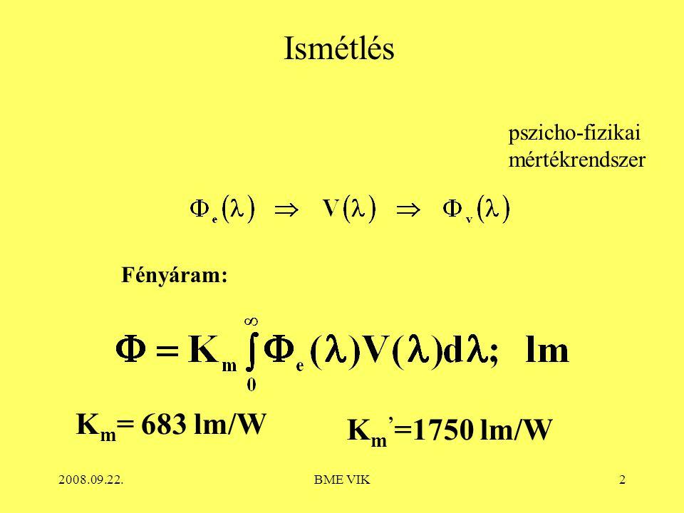 Ismétlés Km= 683 lm/W Km'=1750 lm/W pszicho-fizikai mértékrendszer
