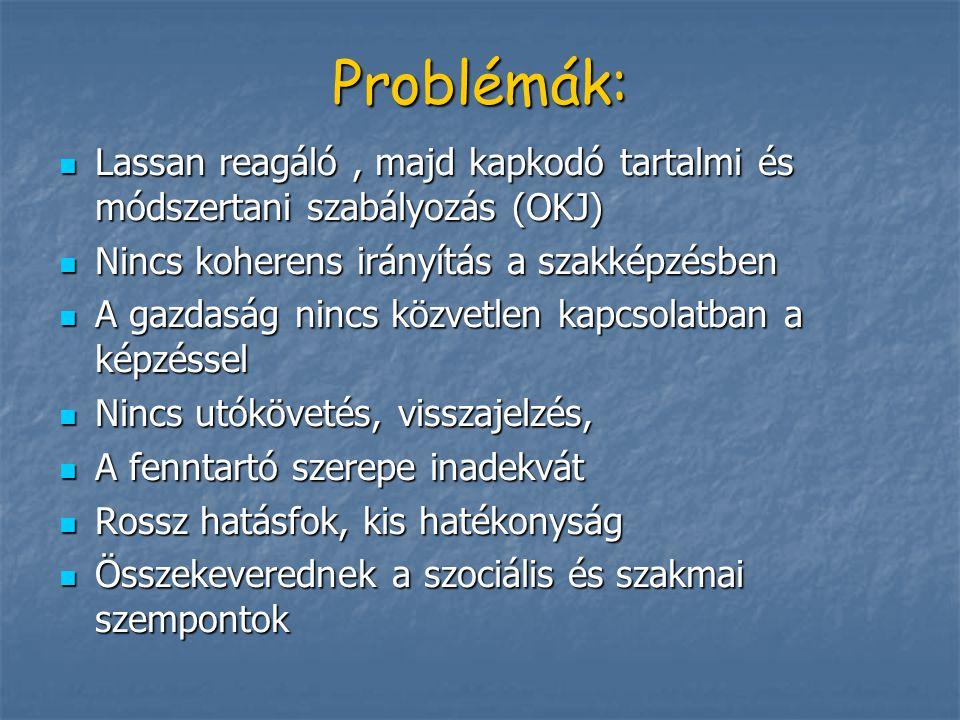 Problémák: Lassan reagáló , majd kapkodó tartalmi és módszertani szabályozás (OKJ) Nincs koherens irányítás a szakképzésben.