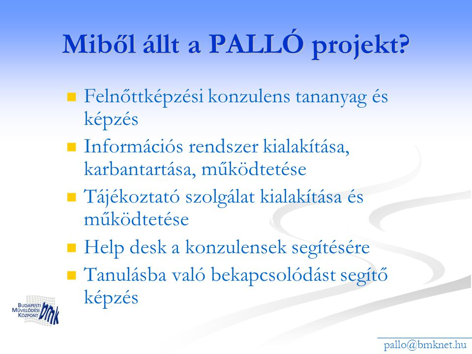 Miből állt a PALLÓ projekt