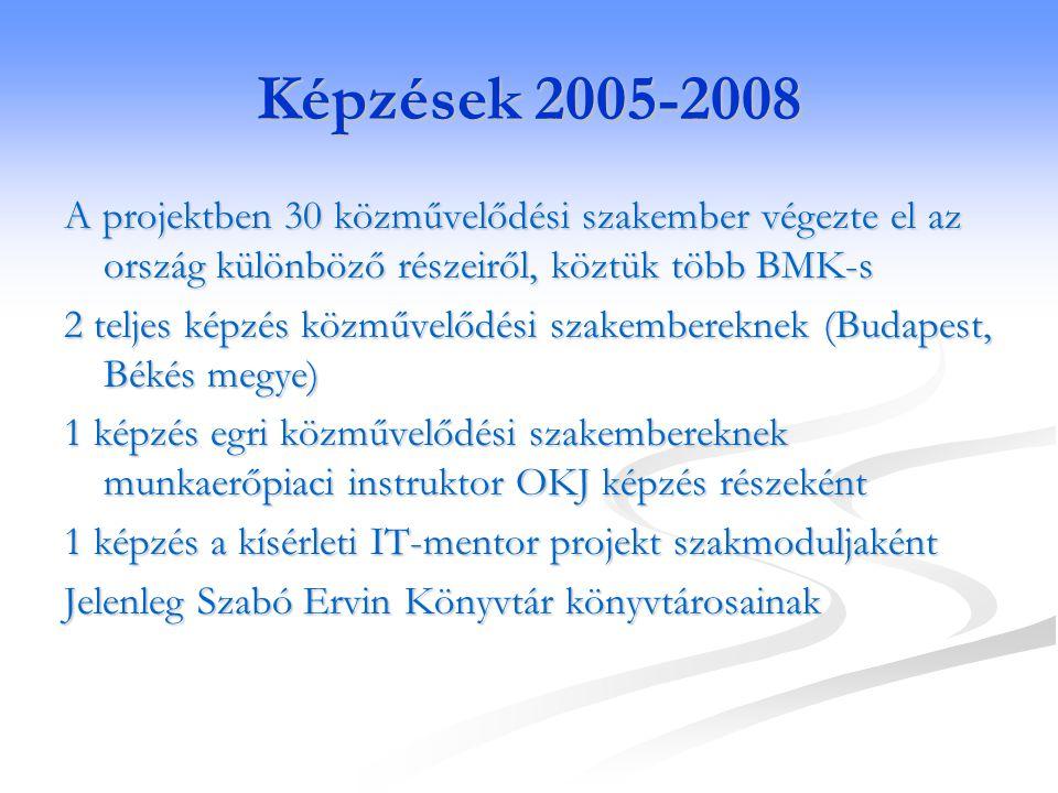 Képzések 2005-2008 A projektben 30 közművelődési szakember végezte el az ország különböző részeiről, köztük több BMK-s.