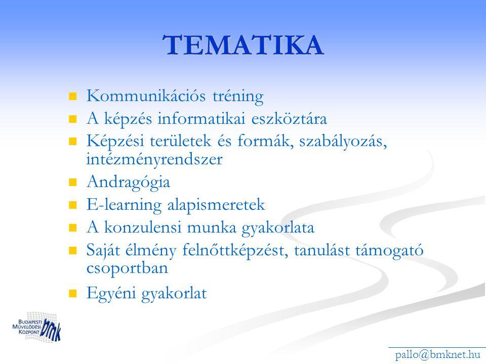 TEMATIKA Kommunikációs tréning A képzés informatikai eszköztára
