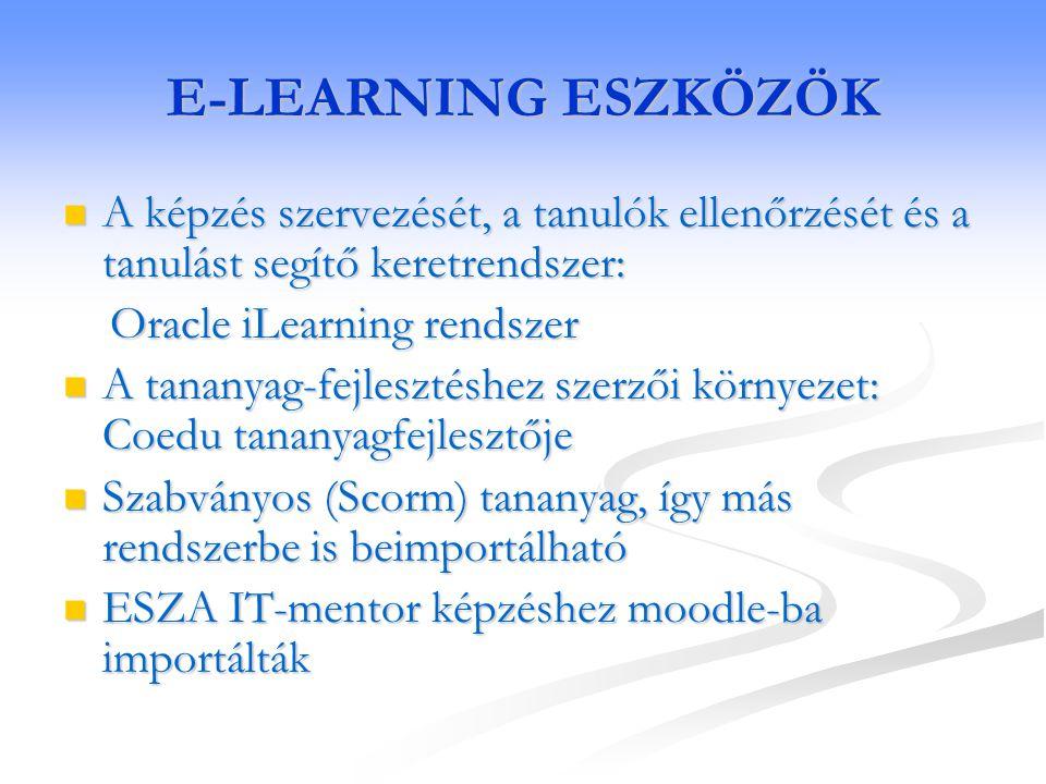 E-LEARNING ESZKÖZÖK A képzés szervezését, a tanulók ellenőrzését és a tanulást segítő keretrendszer: