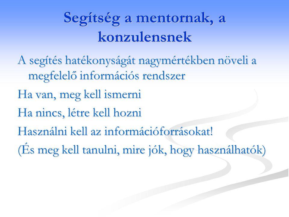Segítség a mentornak, a konzulensnek