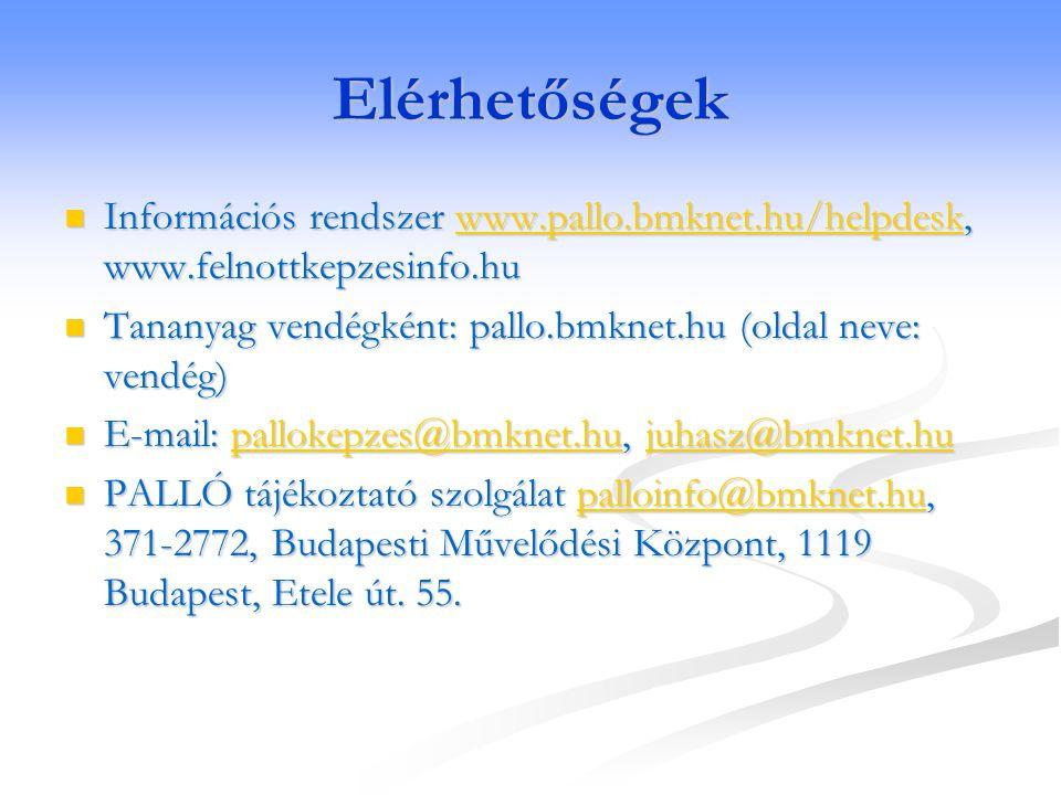 Elérhetőségek Információs rendszer www.pallo.bmknet.hu/helpdesk, www.felnottkepzesinfo.hu. Tananyag vendégként: pallo.bmknet.hu (oldal neve: vendég)