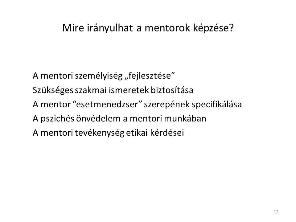 Mire irányulhat a mentorok képzése