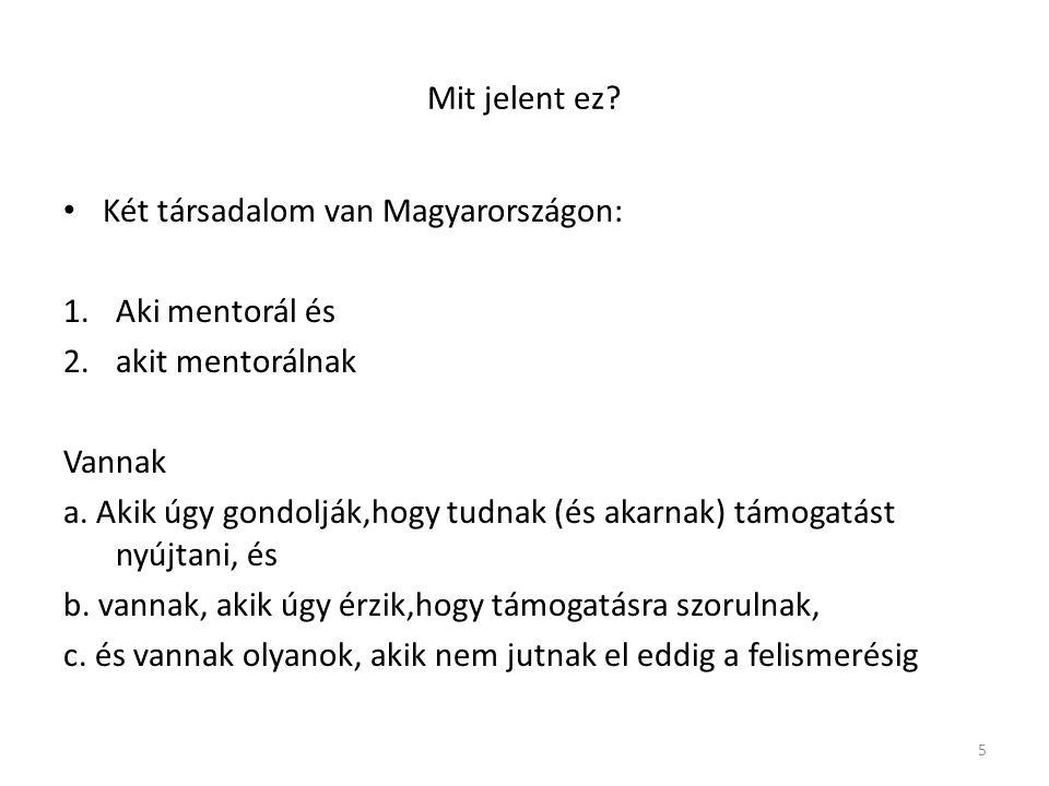 Mit jelent ez Két társadalom van Magyarországon: Aki mentorál és. akit mentorálnak. Vannak.