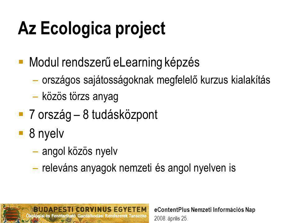 Az Ecologica project Modul rendszerű eLearning képzés