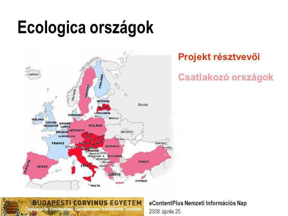 Ecologica országok Projekt résztvevői Csatlakozó országok