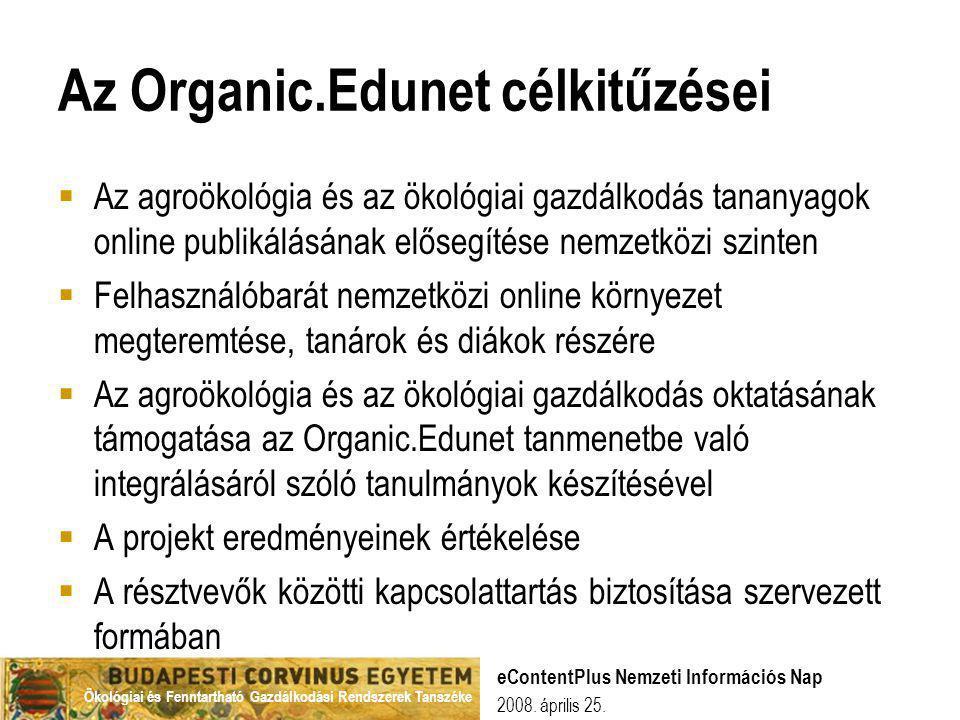 Az Organic.Edunet célkitűzései