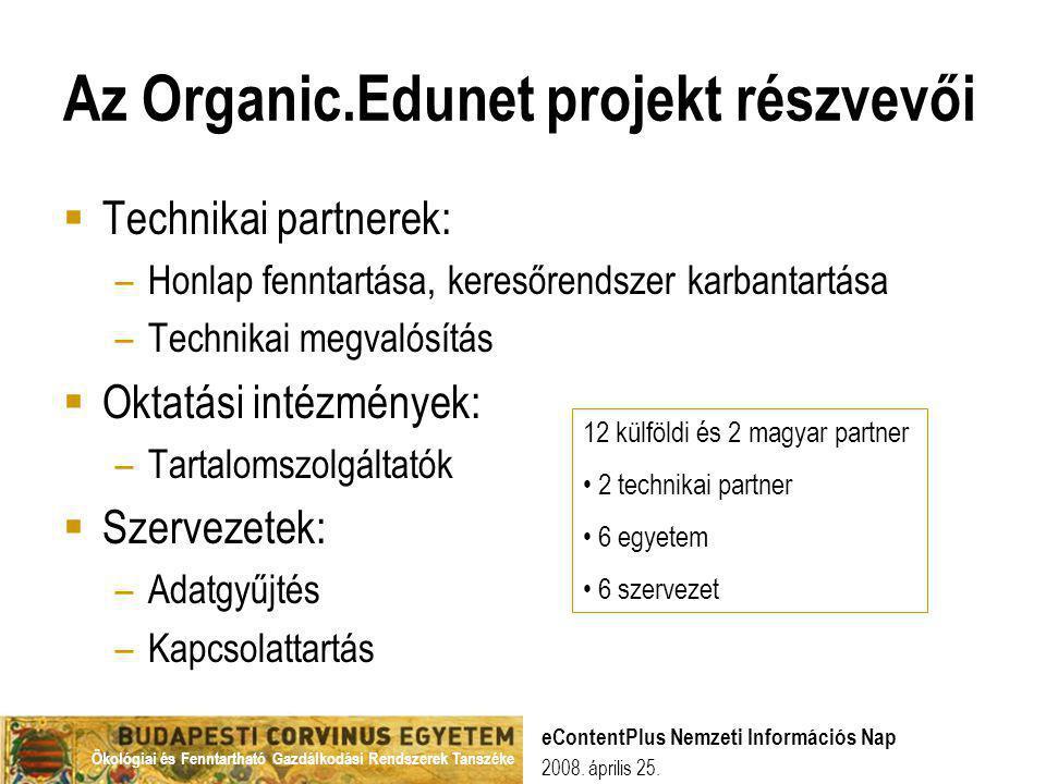 Az Organic.Edunet projekt részvevői