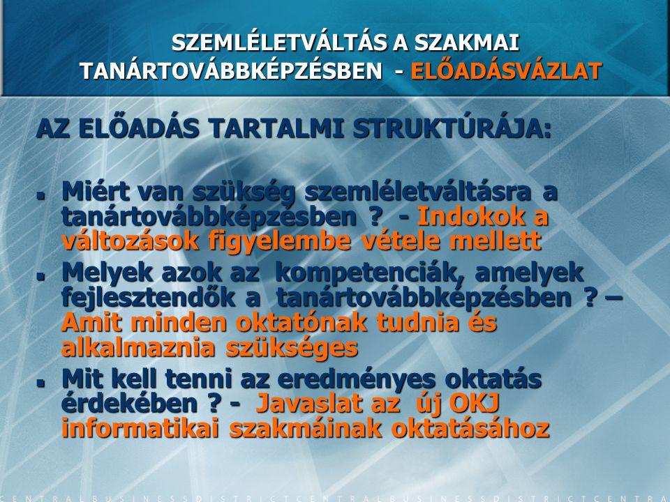 SZEMLÉLETVÁLTÁS A SZAKMAI TANÁRTOVÁBBKÉPZÉSBEN - ELŐADÁSVÁZLAT