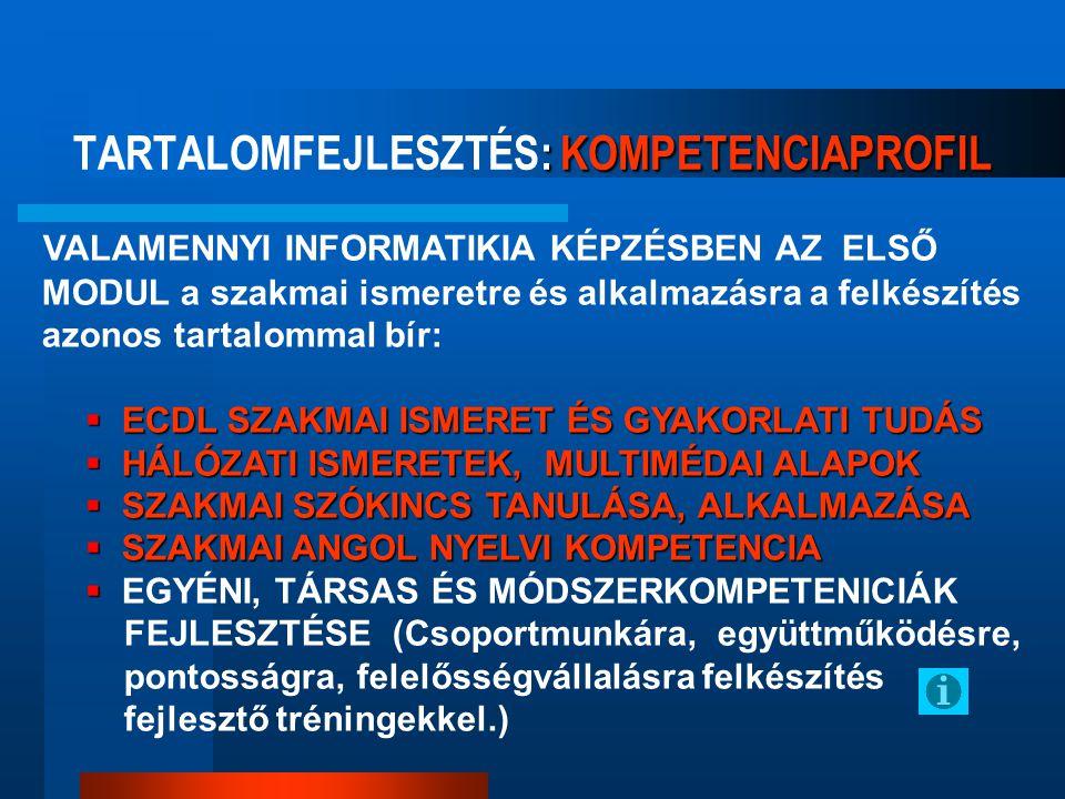 TARTALOMFEJLESZTÉS: KOMPETENCIAPROFIL